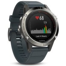Garmin 010-01688-01 Fenix 5 Multisport GPS Watch with Outdoor Navigation and Wrist-Based Heart Rate, Silver with Granite Blue Band