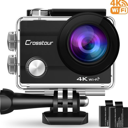 "Crosstour 4K Wifi Action Camera Ultra HD Underwater Sport Cam 98ft 2"" LCD 170 Wide-angle with 2 Rechargeable 1050mAh Batteries and 20 Accessory..."
