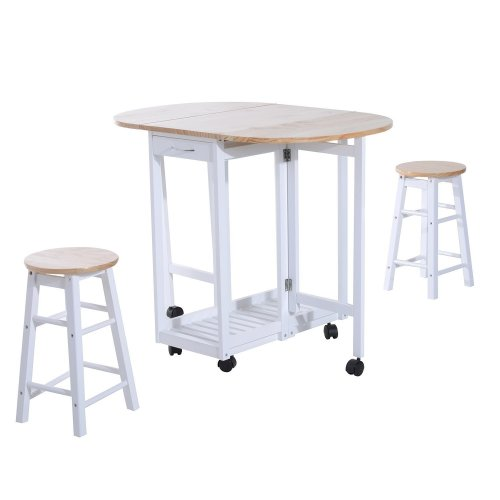 Homcom 3pc Wooden Kitchen Cart Trolley Folding Bar Table Two Stools Dining Chair Storage Shelf W/ 2 Drawers & 6 Wheels