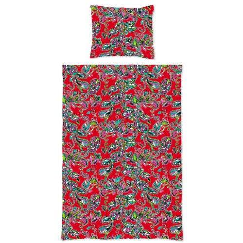 single duvet cover funky flowers and paisleys red - 158878