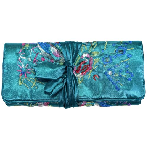 Teal Blue Embroidered Floral Silk Make Up Bag Wrap Jewellery Roll