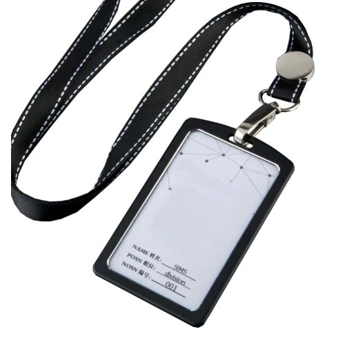 Aluminum Alloy Vertical Style ID Card Badge Holder with Neck Lanyard Strap 3PCS, 03