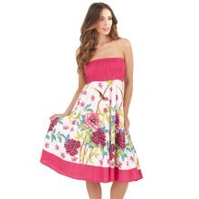 Pistachio, Ladies Two in One Cotton Summer Holiday Skirt Short Dress, Pink 2, Medium (UK 12-14)