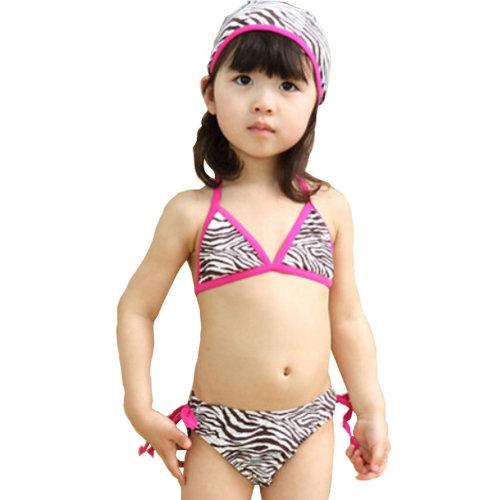 Zebra Pattern Little Girls Swimsuit Kids Two-pieces Bikini Swimwear 5T Rose