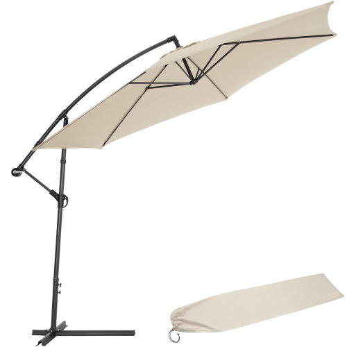 Cantilever Parasol 350cm with protective sleeve beige