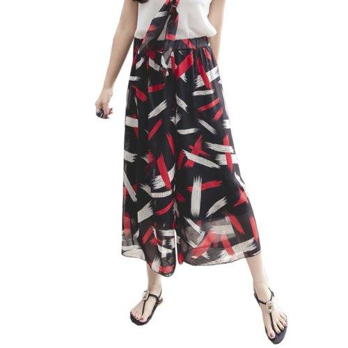 Elegant Summer Thin Pants Floral Print Women Loose Slacks Beach Clothing, #02