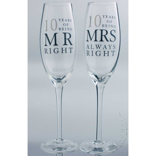 10th Wedding Anniversary Mr & Mrs Right Champagne Glasses Gift Set WG80610