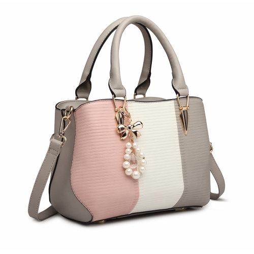 Miss Lulu Women Looks Horizontal Stripe Handbag Shoulder Bag Pearl Tote Pink