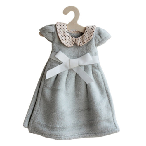 Lovely Soft Thick Hanging Princess Dress Hand Towels Drying Wipe Dotted Green