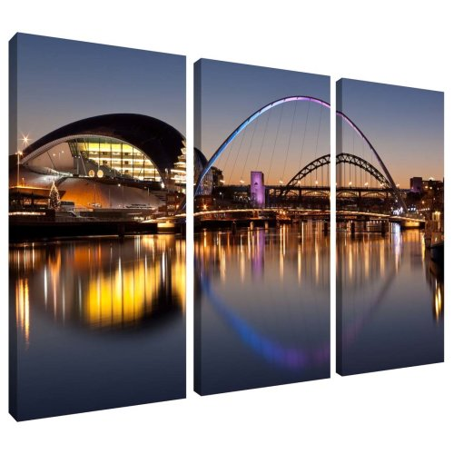 River Tyne Bridges Sunset Newcastle and Gateshead Canvas Wall Art Print 3 Panel Split Picture