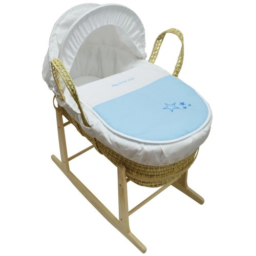 Beautiful Moses Basket And Natural Rocking Stand Blue My Little Star Palm