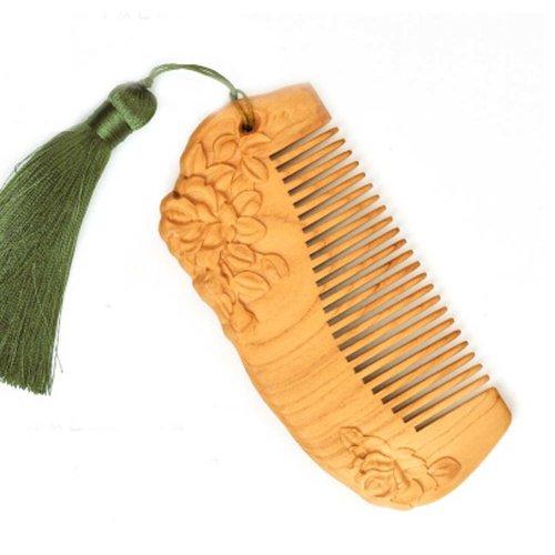 Rose GREEN Macrame Pecan Comb  Anti-static Wooden Comb