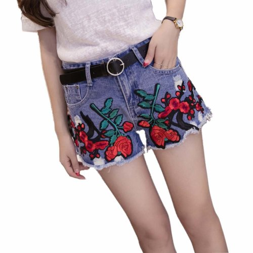 Elegant Embroidered Flower Hot Pants High Waist Denim Shorts for Ladies, A