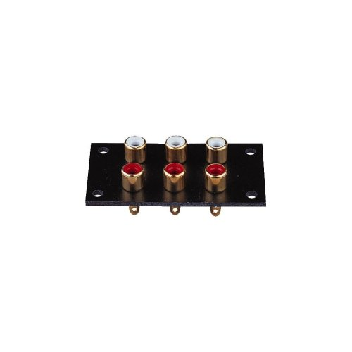 Red/White 6 Way  Phono Sockets Paxolin Panel with Gold Plate and Solder Terminals