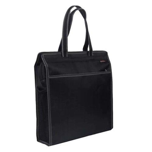Portable Document Bag Zipper Bag Multi-layered Data Bag Briefcase, Black-5