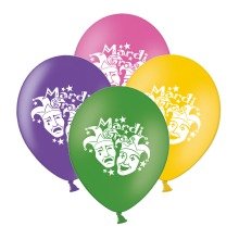 """Mardi Gras Masks  Mix 4 Assorted 12"""" Latex Balloons pack of 12"""