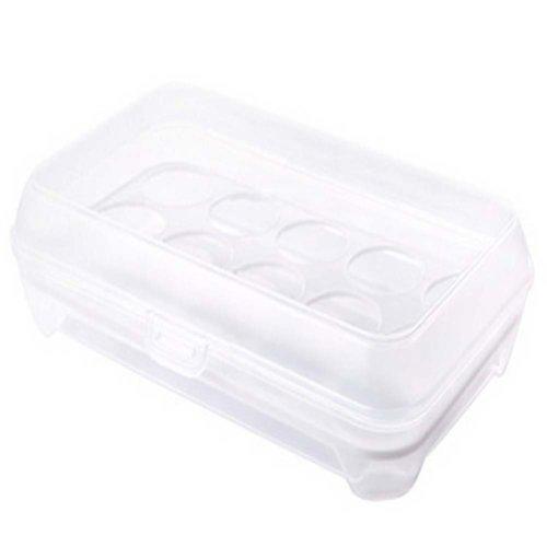Set of 2 Plastic  Egg Storage Boxes Crisper,15 Pockets-White