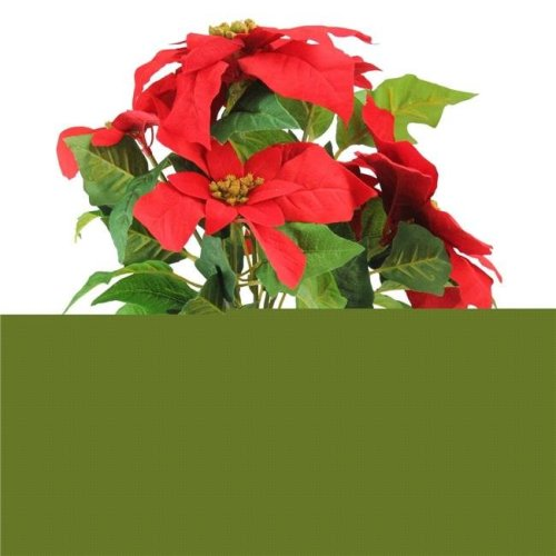Northlight 32618598 15.5 in. Artificial Poinsettia Flower in Tin Vase