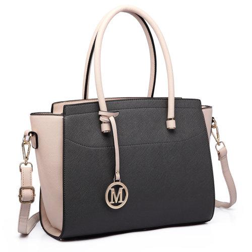 Miss Lulu Women Handbag Leather Shoulder Bag Tote Grey Beige