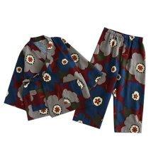 Cherry Pattern Tracksuit Autumn&Winter Cotton Kimono Children 's Kimono Pajamas