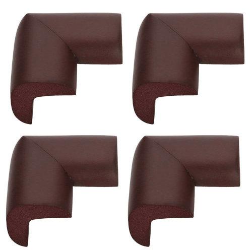 TRIXES 4 Safety L- Shape Foam Furniture Corner Protectors Brown