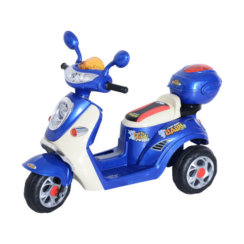 Homcom Kids Electric Ride On Motorbike w/ 6V Chargeable Battery Headlight and Music (Blue)
