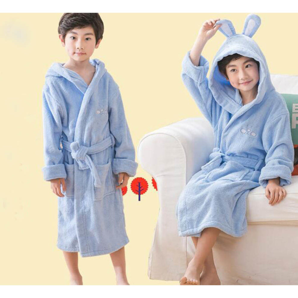 96255222e9 ... Children Cotton Bathrobe Soft Swim Bath Gown Robes Pajamas with Hat-A08  - 1.