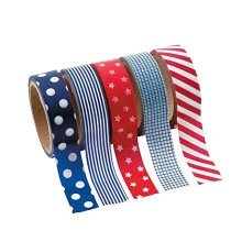 Patriotic Washi Tape Set (5 Rolls Per Unit) Each Roll Includes 16 Ft. Of Tape