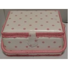 HobbyGift Medium Sewing basket - White with Pink Spot - 26.5 x 19.5 x 14cm