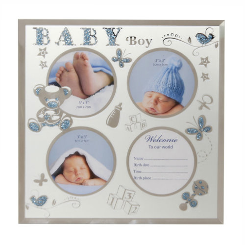 New Baby Glass Multi Aperture Photo Frame with Data Space - Baby Boy