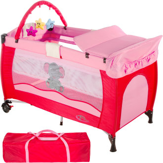 Travel cot elephant with changing mat and play bar pink