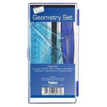 8 Piece School Geometry Maths Set -  set geometry maths school ruler compass case protractor 8 piece pencil