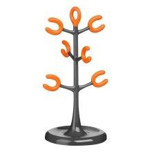 6 Cup Mug Tree - Grey/Orange