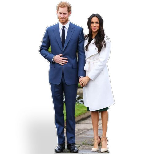 STAR CUTOUTS Life Size Cut Out with Mini Version of Prince Harry and Meghan Markle, Cardboard, Multi-Colour, 186 x 92 x 186 cm