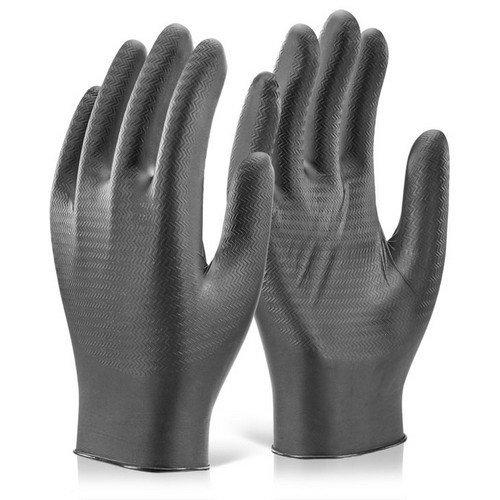 Glovezilla GZNDG10BLL Nitrile Disposable Gripper Glove Powder Free Black Large (9) Box of 1000