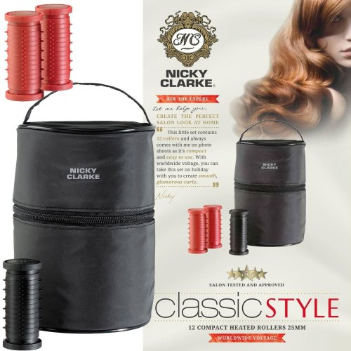 Nicky Clarke Classic Style Women Compact Heated Hair 12 Rollers Clips & Heat Bag