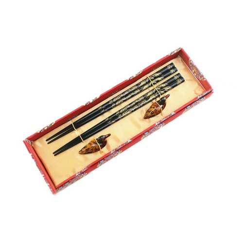 2 Boxes of Chinese Chopsticks Business Gifts Birthday Gift, Golden Lace