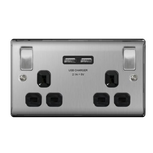 British General Double Switched Power Socket with USB 2.1A Charger Sockets - Brushed Steel (Black Insert)