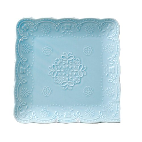 Ceramics Serving Dishes Trays Platters Candy Dishes Decorative Tray Steak Plate 7.87 Inch (Blue)