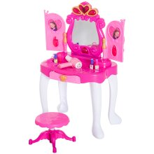 HOMCOM 23 pcs Girls Princess Style Dressing Table & Stool Playset Toy Vanity Pretend Role Play Mirror kids Sensor Door Light & Music - Pink