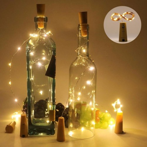 10 Pcs Wine Bottles with 20 LED Lights With Cork Fairy Lights Battery Operated Starry String Lights (pack of 10, 2m/7.2ft Warm White)