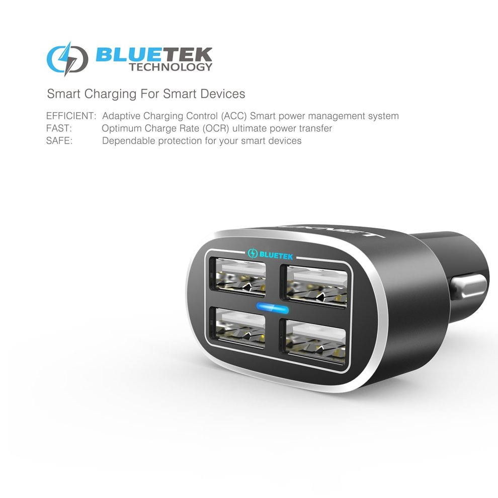 4 Port Car Charger,TeckNet 9 6A/48W USB Travel Car Adaptor Power Dash D2  with BLUETEK Technology for iPhone 8 / 7 / 6 / 6 Plus/ 6S, iPad Pro / Air