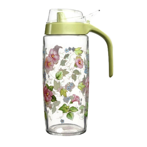 500ML Beautiful Glass Vinegar Bottle Oil Container Cruet, Morning Glory