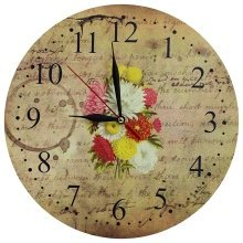 Obique Home Decoration MDF Chrysanthemum Bouquet Scene Wall Clock 28cm