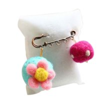 Cute Cartoon Animal Wool Felt Brooch Pin Clothing Accessories, Flower