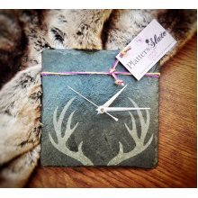 Stag Antler Design Square Slate Clock - 22cm - Wall Mounting