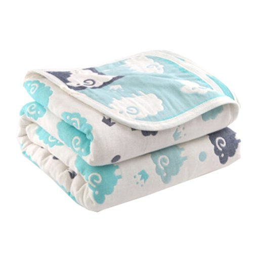 "Soft Cotton Gauze Baby Towel Blanket Toddler Blankets Covered Blanket 35.43""x 39.37"" (Cartoon Sheep)"