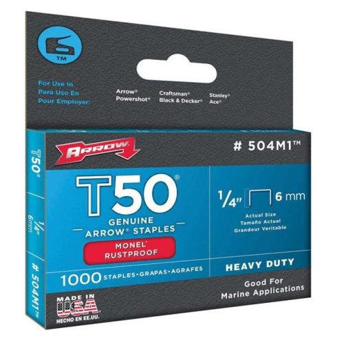 Arrow Fastener 504M1 0.25 in. Monel Staple - Bax of 1000- pack of 5