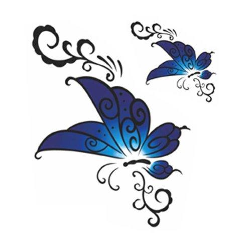 3 Sheets Blue Butterfly Simulation Tattoos Abdomen Makeup Art Stickers Temporary Tattoos Tattoo Sticker