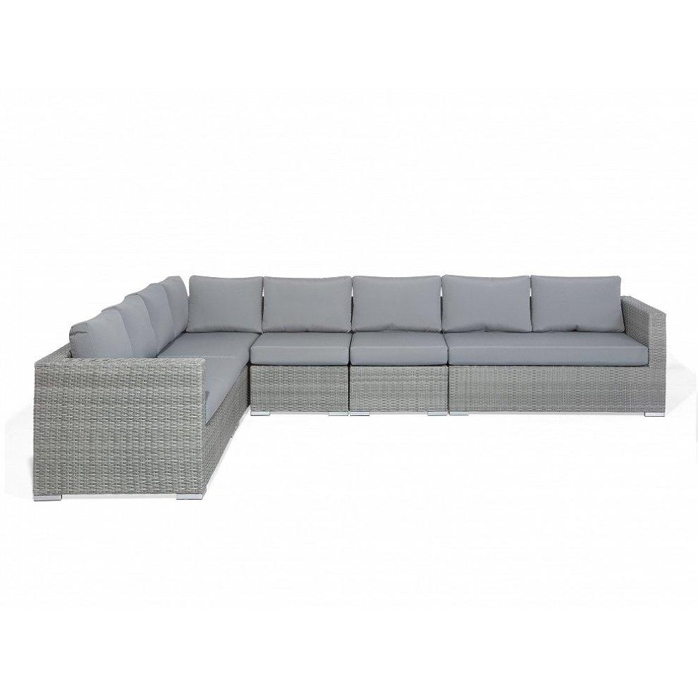 8 Seater Rattan Garden Sofa Set In Grey XXL On OnBuy